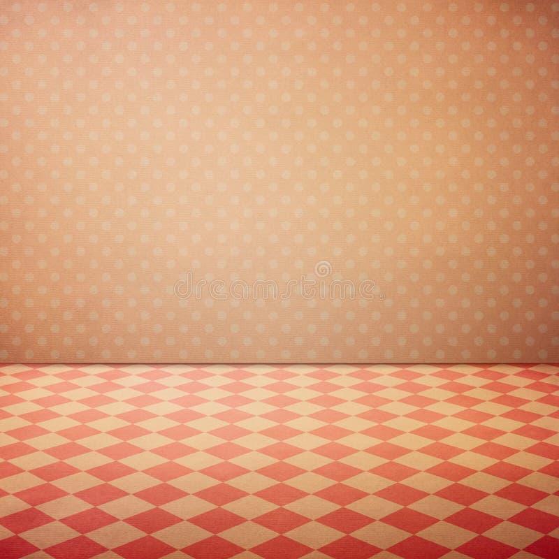 Weinleseinnenschmutzhintergrund mit überprüftem Boden und rosa Tupfenwand lizenzfreies stockfoto
