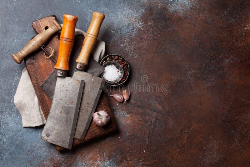 Weinleseküchengeräte und -gewürze lizenzfreies stockfoto