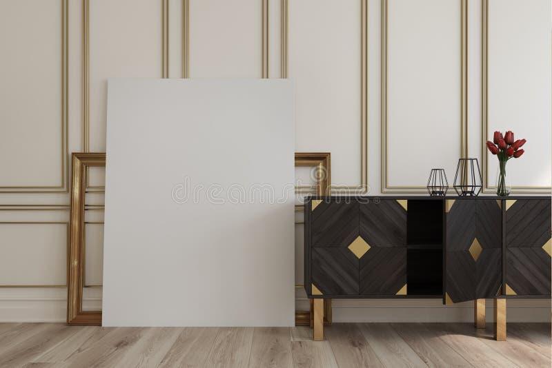 Weinlesekabinett und ein Bild, Rahmen stock abbildung