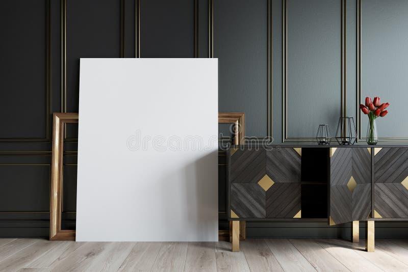 Weinlesekabinett und ein Bild, Rahmen, schwarz stock abbildung