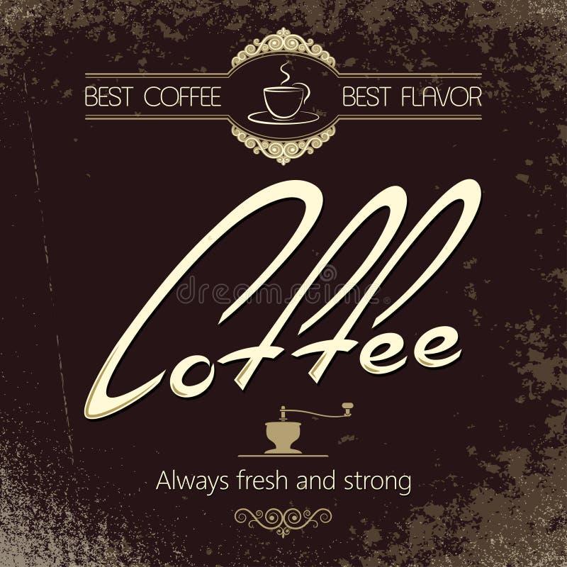 Weinlesekaffee-Menühintergrund stock abbildung