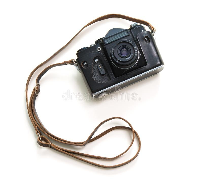 Weinlesekamera getrennt auf weißem Hintergrund stockfotografie
