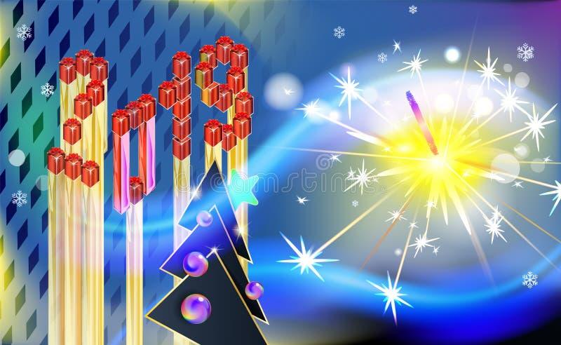 Weinlesekarikaturhintergrund des neuen Jahres oder des Weihnachten mit Pelzbaum und abstrakter Aufschrift Isometry 2019 Helle Sch vektor abbildung