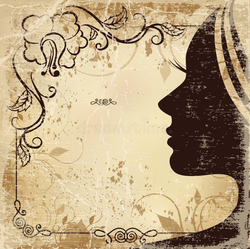 Weinlesekarte mit dem Profil der Frau stock abbildung