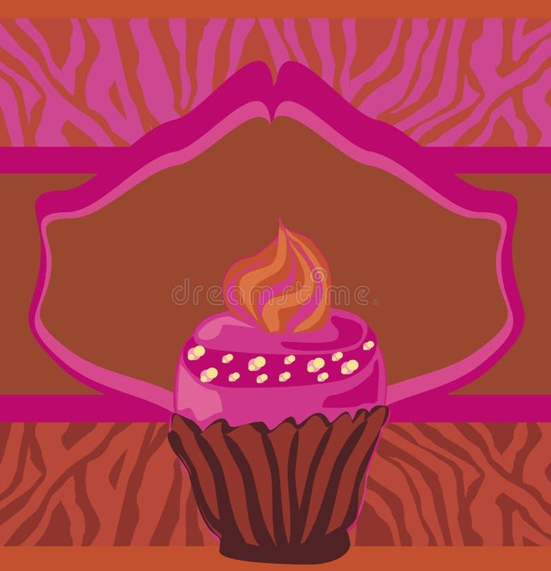 Weinlesekarte mit kleinem Kuchen, Zebradruck lizenzfreie abbildung