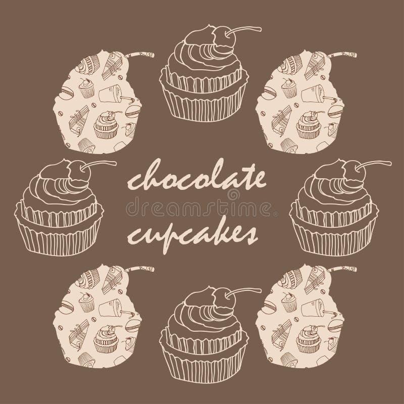 Weinlesekarte mit Rahmen von Schokoladenkleinen kuchen lizenzfreie abbildung