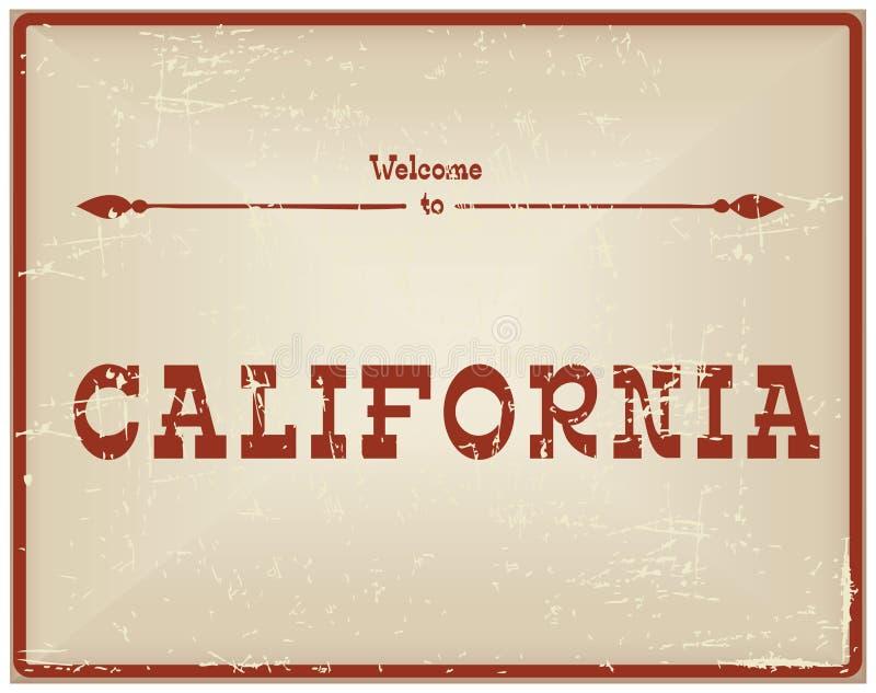 Weinlesekarte Willkommen zu Kalifornien stock abbildung