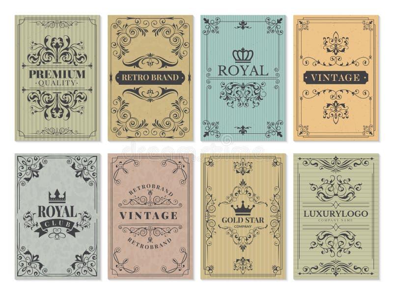 Weinlesekarten Rustikale victorian Retro- alte Musterverzierungen für Rahmenentwurfswesthintergrund-Vektorschablone lizenzfreie abbildung