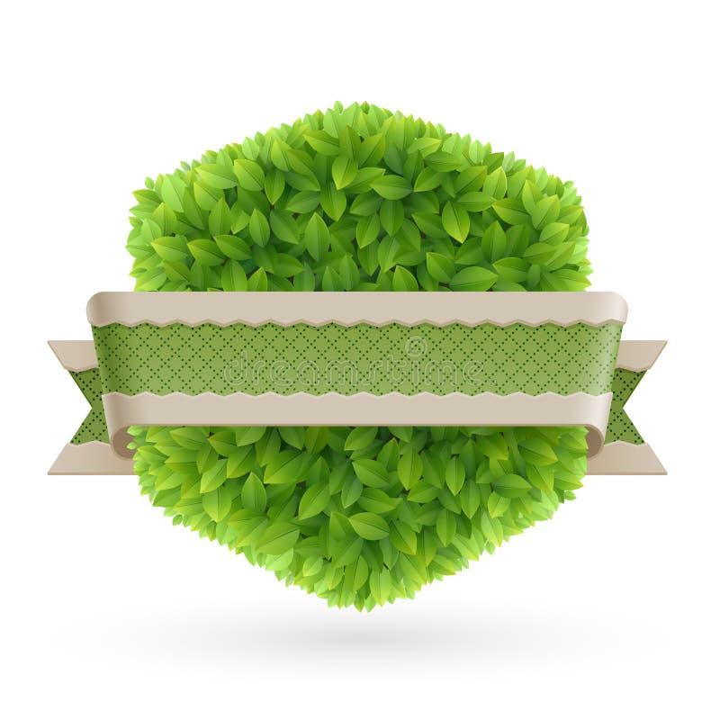 Weinlesekennsatz mit grünen Blättern vektor abbildung