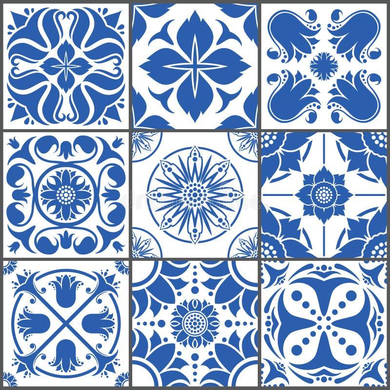 Weinlesekeramikfliesen-Vektorillustration Design-Beschaffenheitssatz des Bodens nahtloser lizenzfreie abbildung