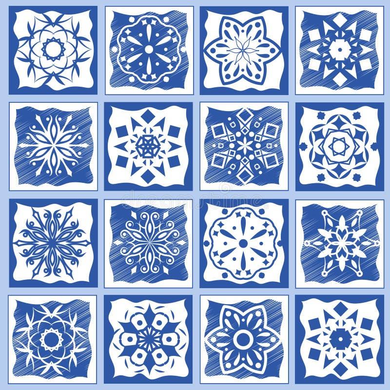 Weinlesekeramikfliesen-Vektorillustration Geometrischer Bodendesign-Beschaffenheitssatz stock abbildung
