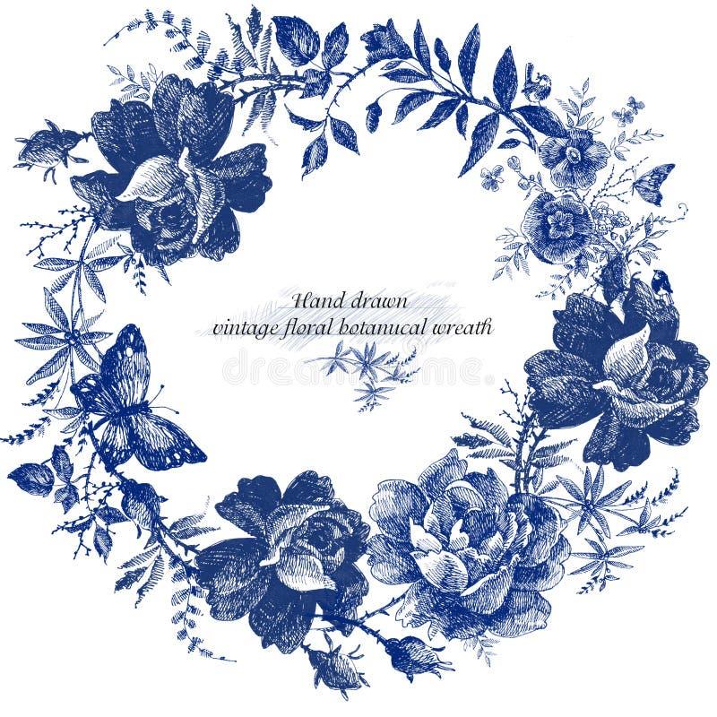 Weinlesekranzentwurf mit Retro- Rosen blühen Grafik Märchenwaldhandgezogenes Blume Zeilendarstellung vektor abbildung