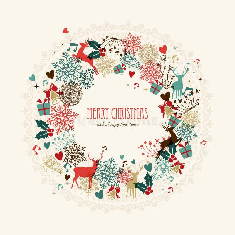 Weinlesekranzkarte der frohen Weihnachten lizenzfreie abbildung