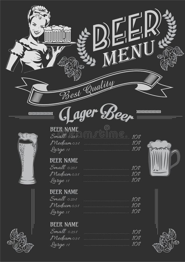 Weinlesekreidezeichnungs-Biermenüdesign Hochzeitsabendessen mit Rollenfleisch rauchte und Tomaten vektor abbildung