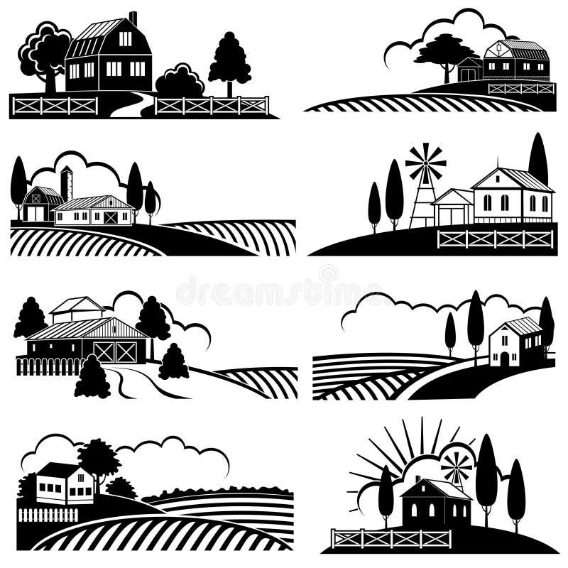 Weinleselandschaftslandschaft mit Bauernhofszene Vektorhintergründe in der Holzschnittart lizenzfreie abbildung