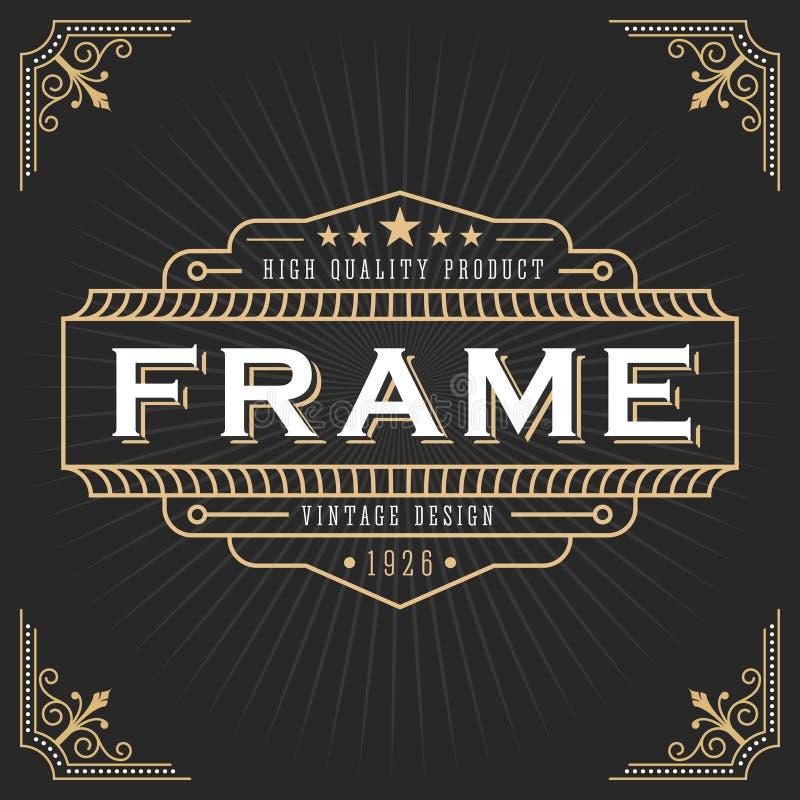 Weinleselinie Rahmendesign stock abbildung