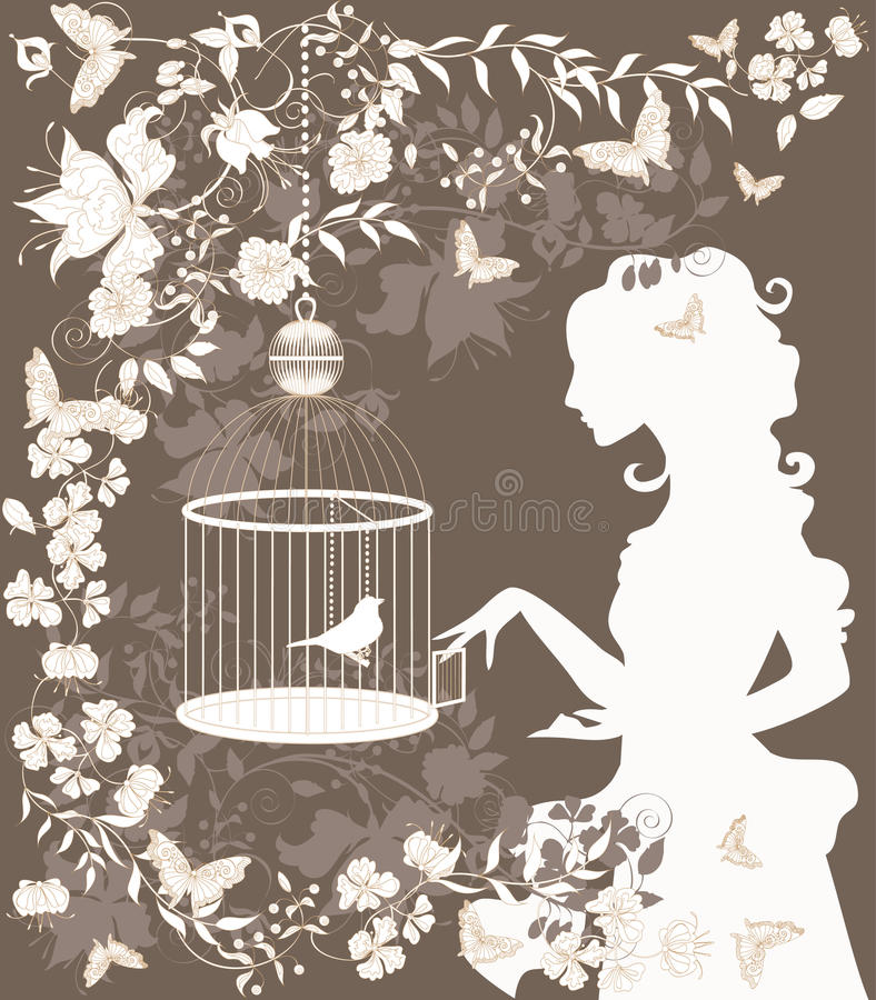 Weinlesemädchen und -vogel stock abbildung