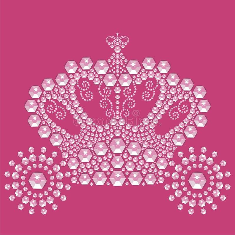 Weinlesemärchenwagen lokalisiert auf rosa Hintergrund von den glänzenden Steinen stock abbildung