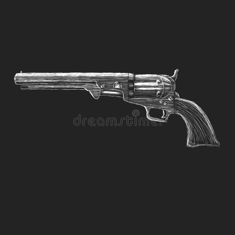 Weinlesemagnumrevolver-Handgezogene Skizze Klassische Pistolenvektorillustration stock abbildung