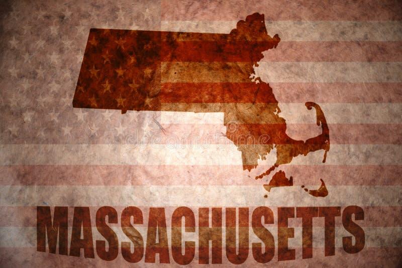 Weinlesemassachusetts-Karte stockbild