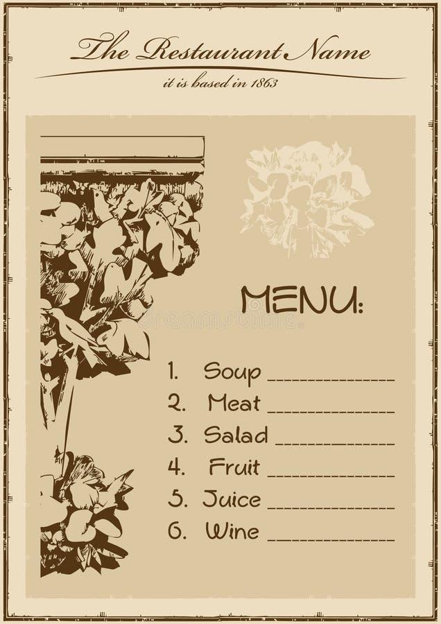 Weinlesemenü-Gaststättevertikale stock abbildung