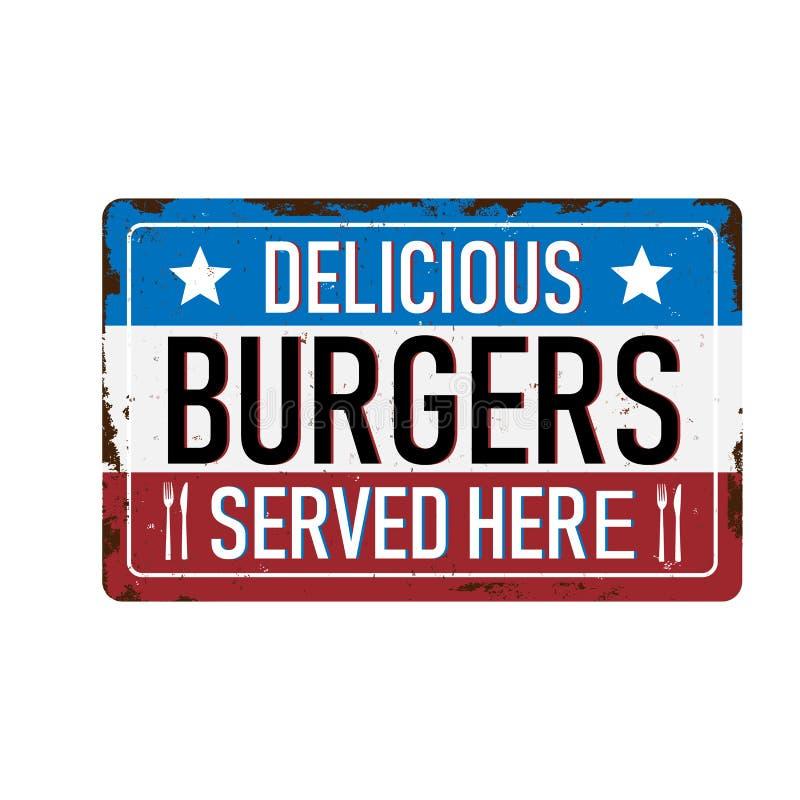Weinlesemetallschild - Burger - Vektor EPS10 Grunge und rostiges lizenzfreie abbildung