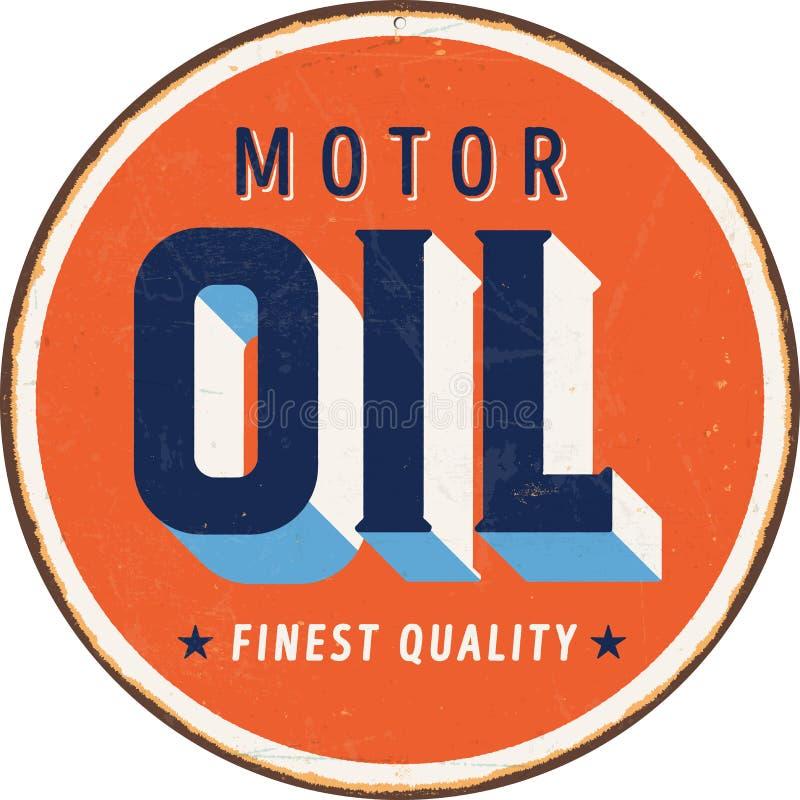 Weinlesemetallschild - Motorenöl stock abbildung
