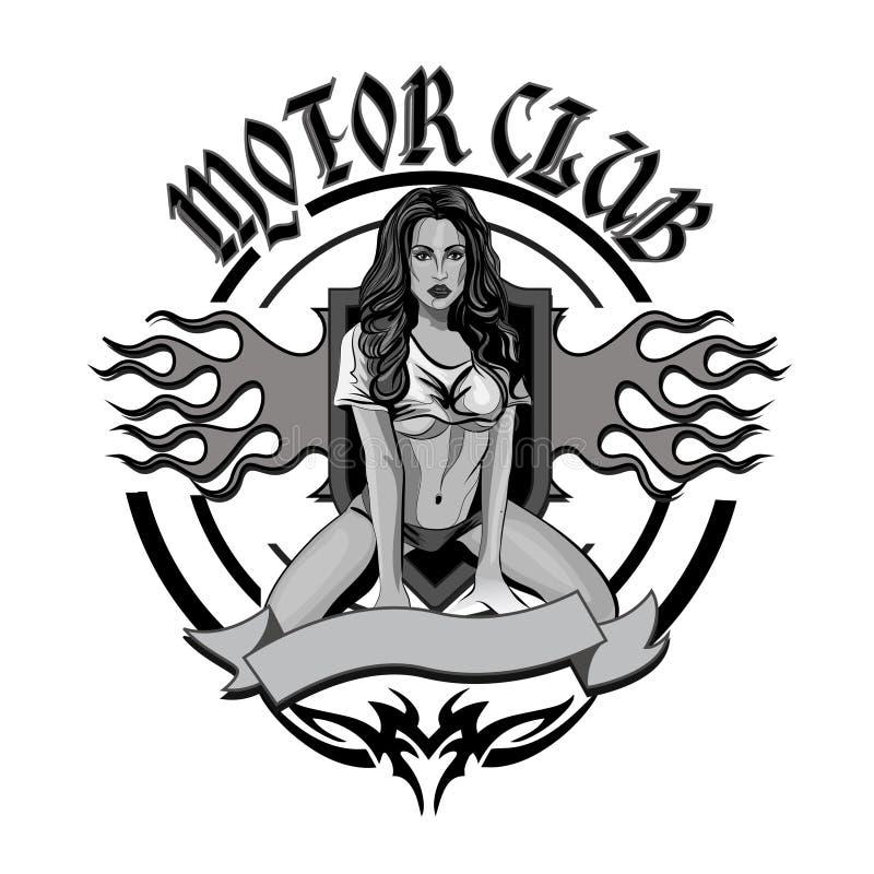 Weinlesemotorradgaragenbewegungsclubemblem mit sexy Mädchen lizenzfreie abbildung