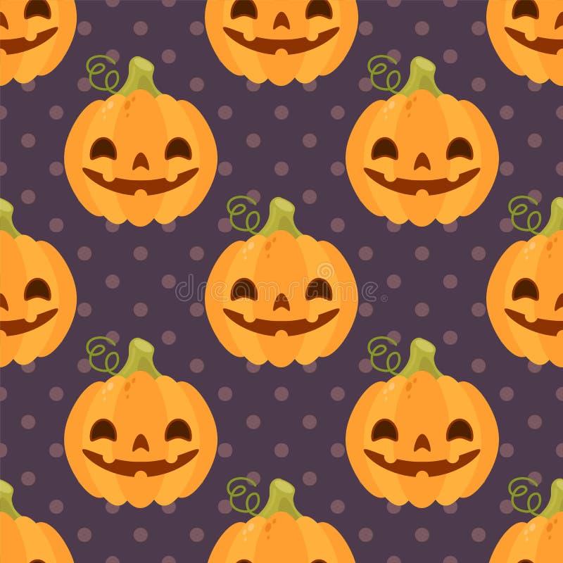 Weinlesemuster mit Kürbisen für Halloween stock abbildung