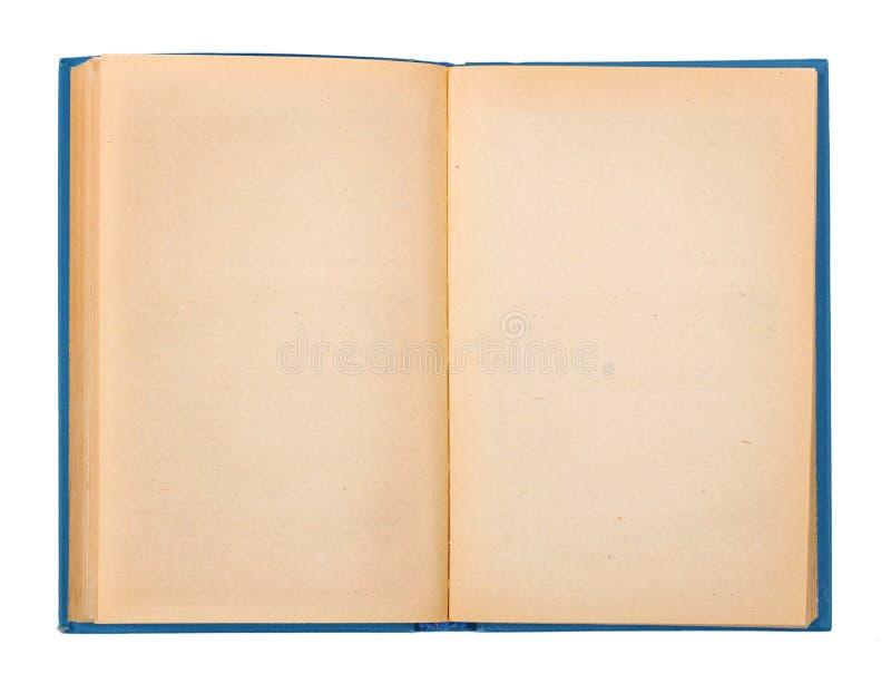 Weinleseoffenes buch mit einer blauen Abdeckung lizenzfreie stockfotografie