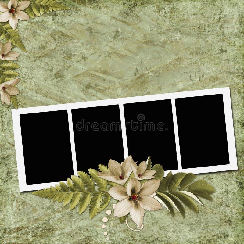 Weinlesepapier mit Feldern und Blumen lizenzfreie abbildung
