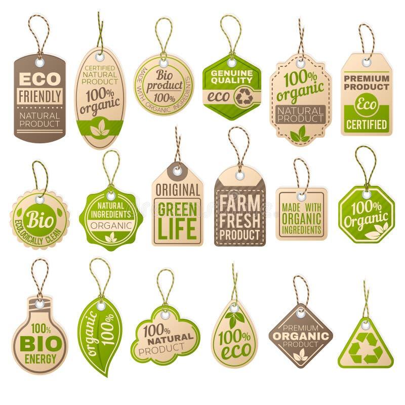 Weinlesepappe-eco Preise Shoporganische Biobauernhofvektor-Papieraufkleber lizenzfreie abbildung