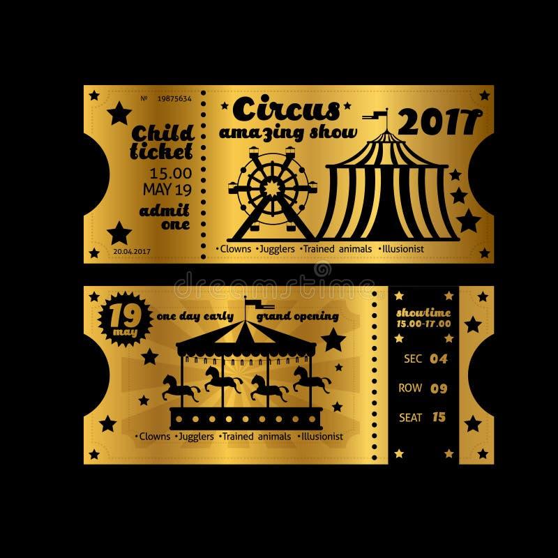 Weinleseparteieinladung Goldene Karten Retro- Zirkuskarnevalskartenschablone Vektors lokalisiert auf schwarzem Hintergrund lizenzfreie abbildung