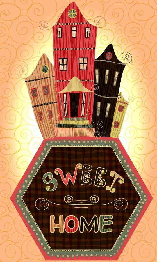 Weinleseplakat-Bonbonhaus Karikaturkonzeptkarte mit Häusern und Bäumen in den Retro- Farben lizenzfreie abbildung