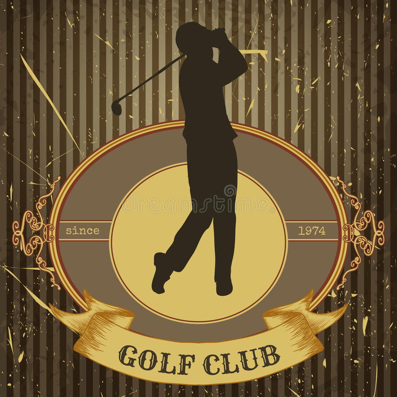 Weinleseplakat mit dem Schattenbild des Mannes Golf spielend Retro- Hand gezeichneter Vektorillustrations-Aufklebergolfclub vektor abbildung