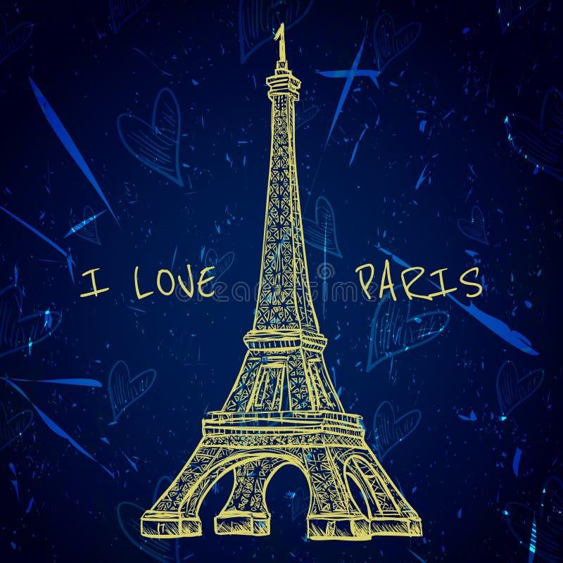 Weinleseplakat mit Eiffelturm auf dem Schmutzhintergrund Retro- Illustration in der Skizzenart 'ich liebe Paris' stock abbildung