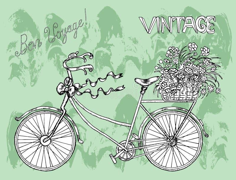 Weinleseplakat mit Fahrrad und Blumen vektor abbildung