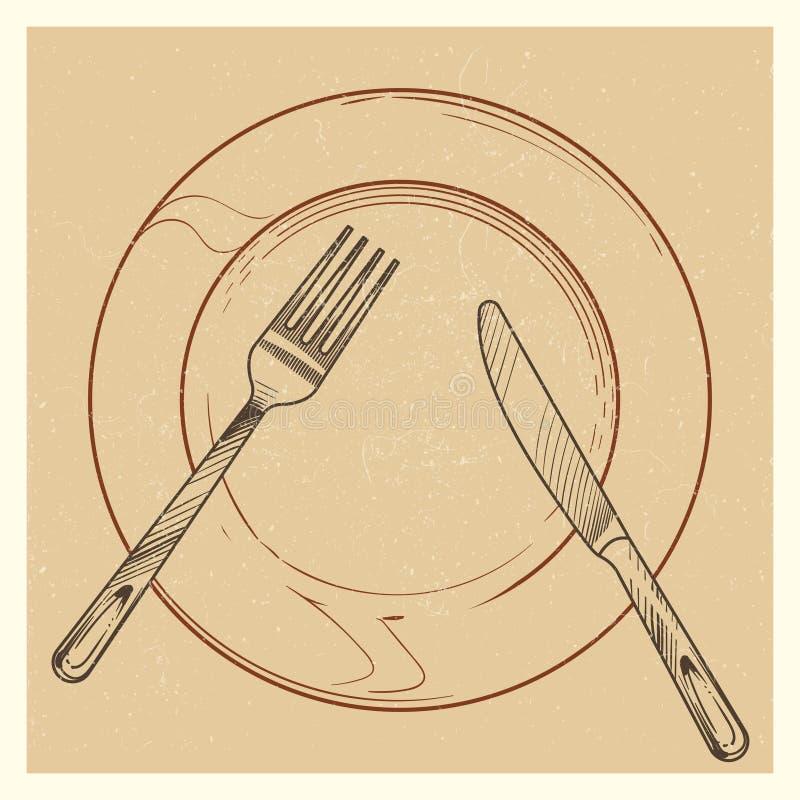 Weinleseplakat mit Messer, Gabel, Platte vektor abbildung