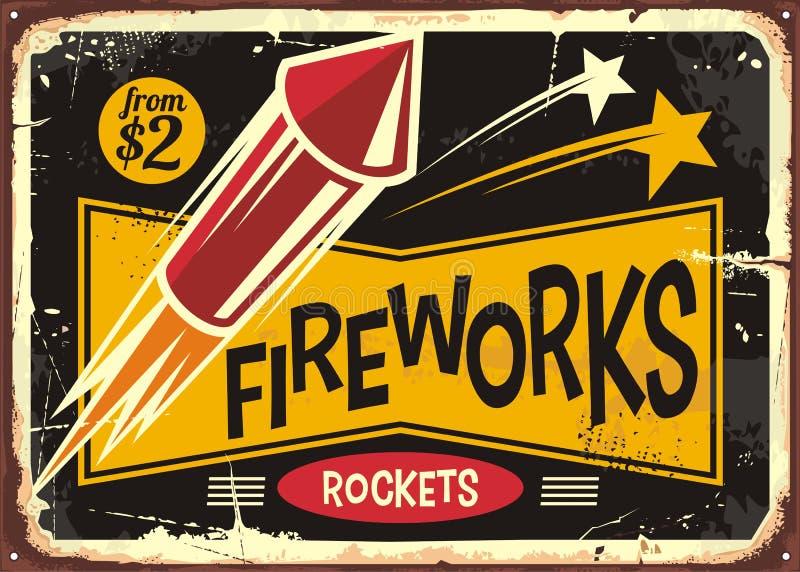 Weinleseplakat- oder -fliegerdesign für Feuer bearbeitet Raketeneinzelhändler lizenzfreie abbildung