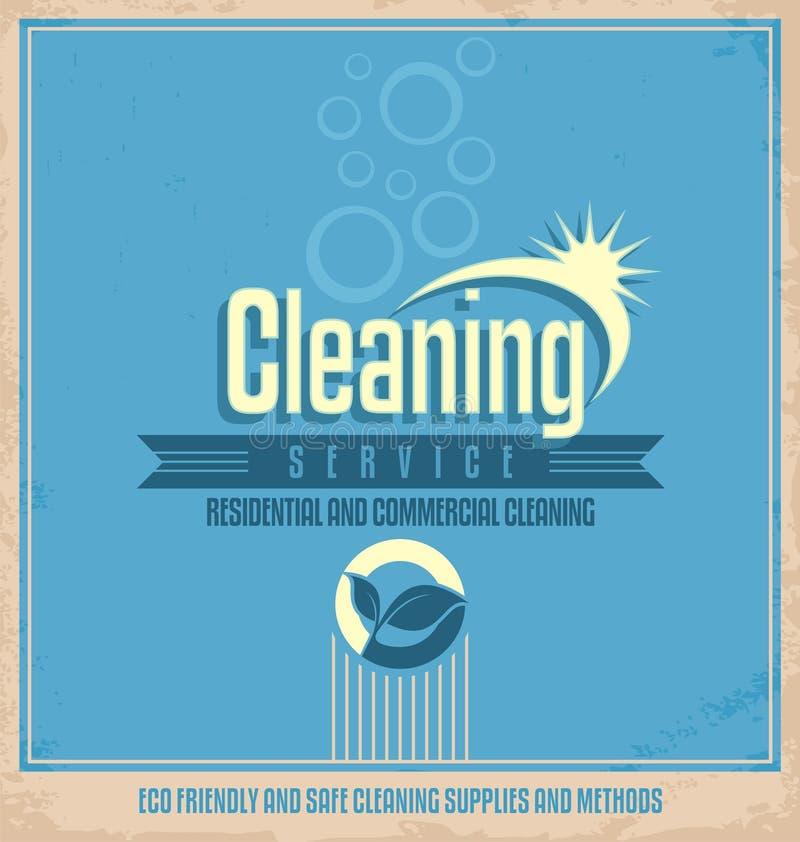 Weinleseplakatdesign für Reinigungsservice lizenzfreie abbildung