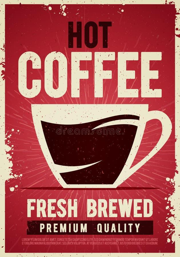 Weinleseplakatschablonen-Zinnzeichen der Vektorillustrationskaffeestube Retro- mit Schale für Cafébarinnenausstattung lizenzfreie abbildung