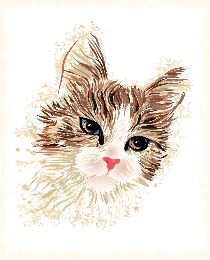Weinleseportrait der Katze lizenzfreie abbildung