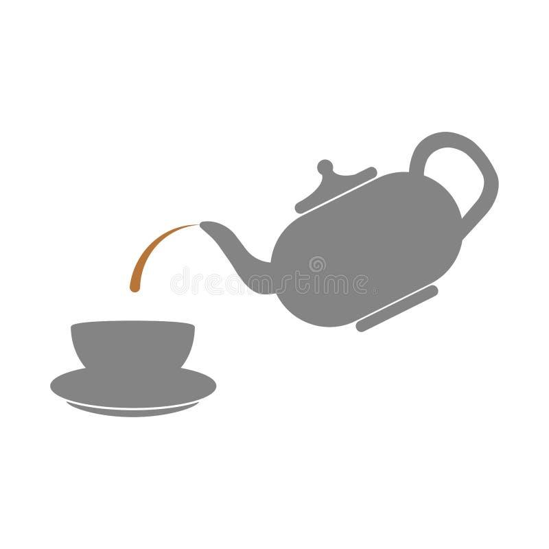 Weinleseporzellanteekanne mit der Schalenikone lokalisiert auf weißem Hintergrund Chinesischer Kessel Teepartykonzept Zeit für Fr stock abbildung