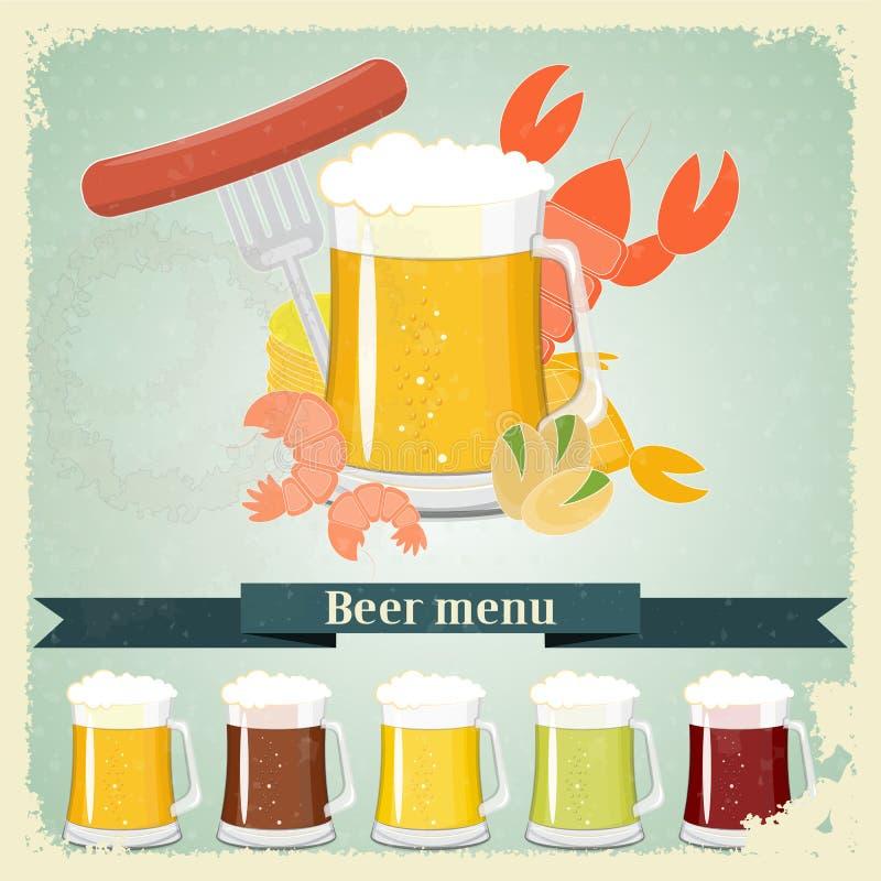 Weinlesepostkarte, Abdeckungmenü - Bier, Bierimbiß lizenzfreie abbildung