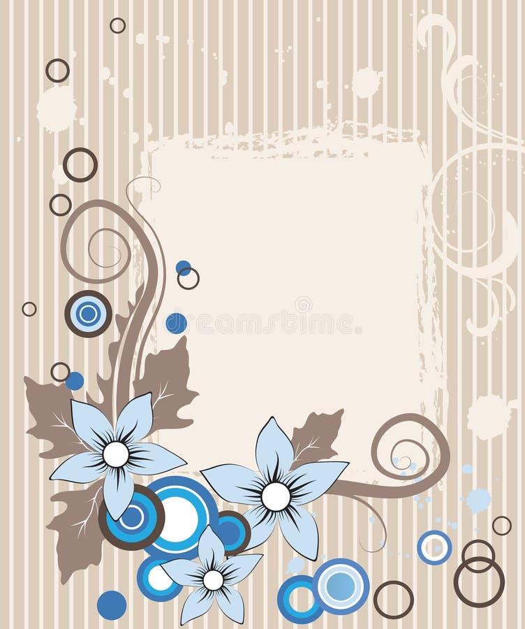 Weinlesepostkarte mit blauen Blumen auf stripy backg lizenzfreie abbildung
