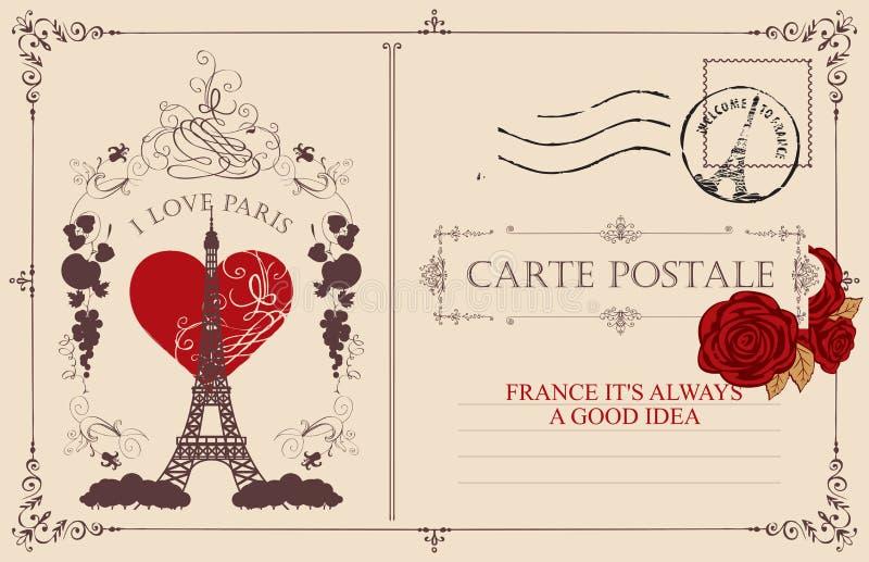 Weinlesepostkarte mit dem Eiffelturm in Paris stock abbildung