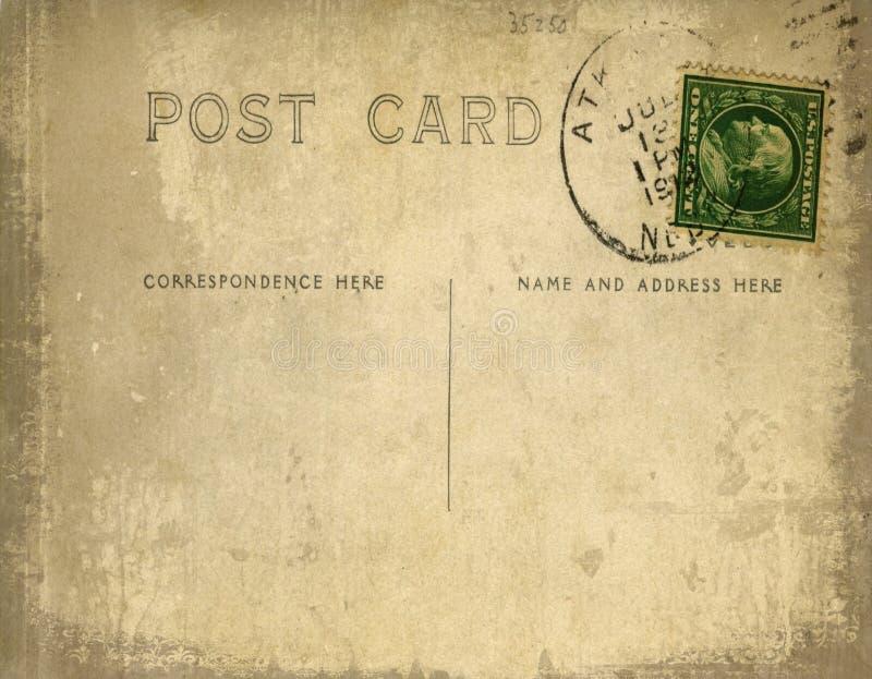 Weinlesepostkarte mit grungy Hintergrund lizenzfreie abbildung