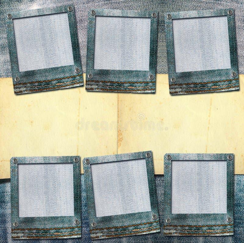 Weinlesepostkarte mit Papier schiebt auf alte Jeans vektor abbildung