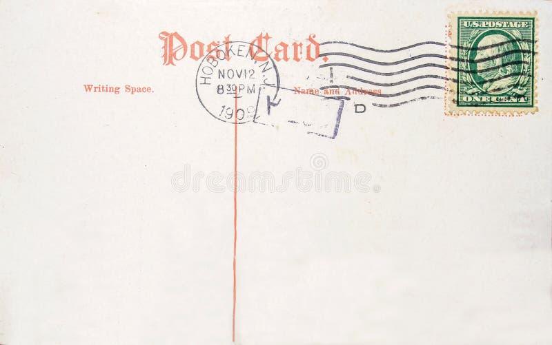 Weinlesepostkarte mit US eine CentBriefmarke stockfoto