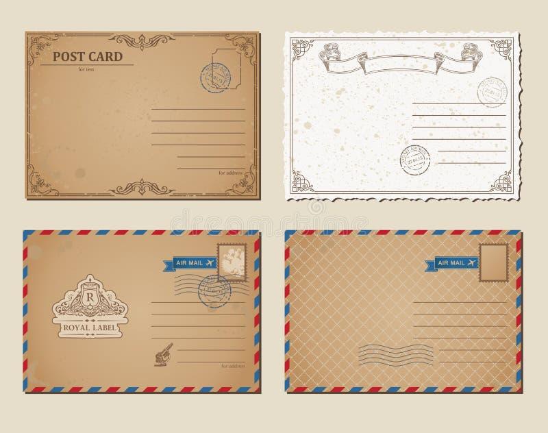 Weinlesepostkarten, Briefmarken, Vektorillustrations-Postkartenschablone vektor abbildung